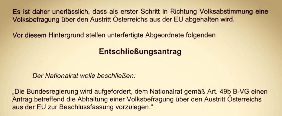 Die FPÖ fordert in einem Antrag eine Volksbefragung über den EU-Austritt Österreichs