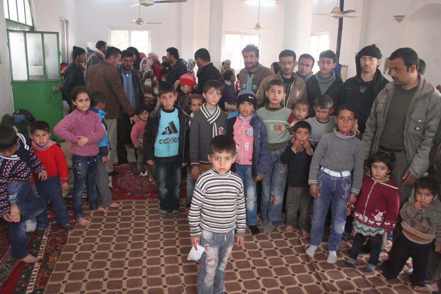 Refugees from Aleppo and Raqqa are temporary hosted in the village mosque Gerbalat, February 19, 2014