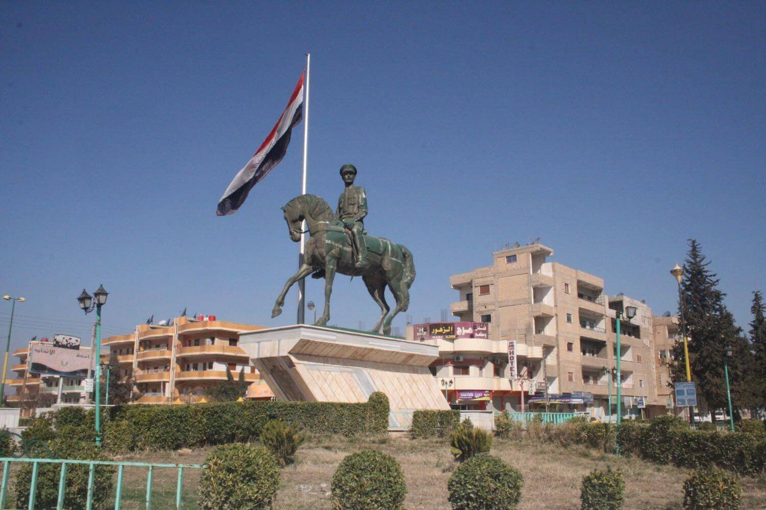 Statue of Basil al-Assad, the deceased brother of the president Qamishli, February 20, 2014