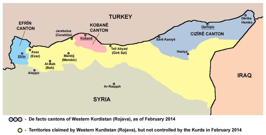 Die drei kurdischen Kantone: Efrîn, Kobanê und Cizîrê