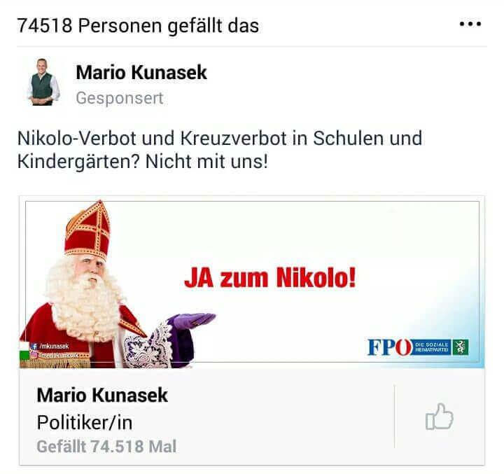 Die FPÖ-Steiermark verbreitet die Nikolo-Lüge 2017 mit einem gesponserten Facebook-Beitrag