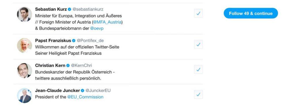 Sebastian Kurz und Christian Kern bei Twitter