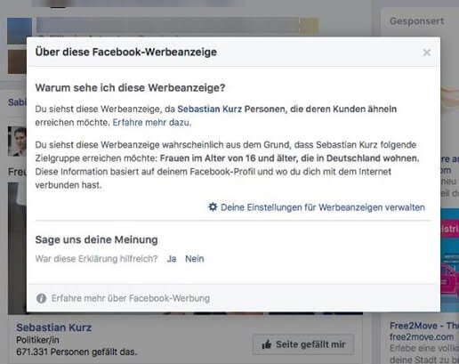 Sebastian Kurz Facebook-Werbung in Deutschland
