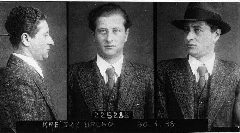 Aufnahme von Bruno Kreisky nach der Verhaftung durch die Austrofaschisten 1935 (Artikel: Bruno Kreisky Biografie)