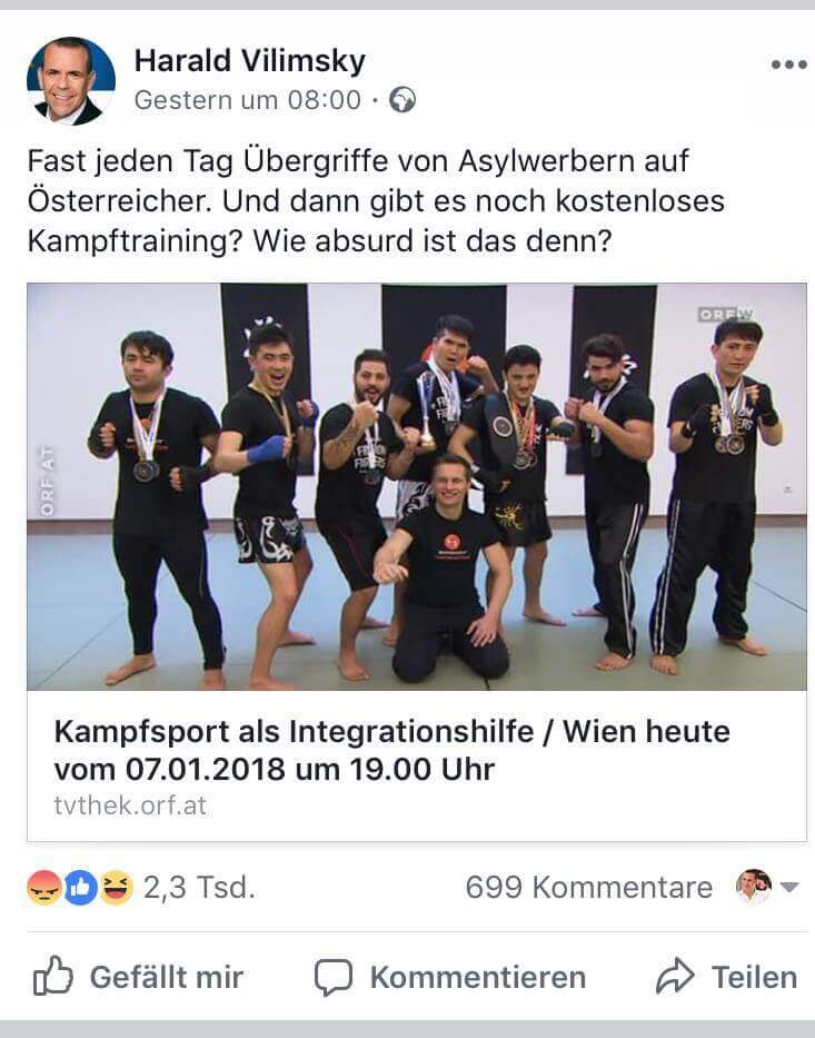 Harald Vilimsky auf Facebook