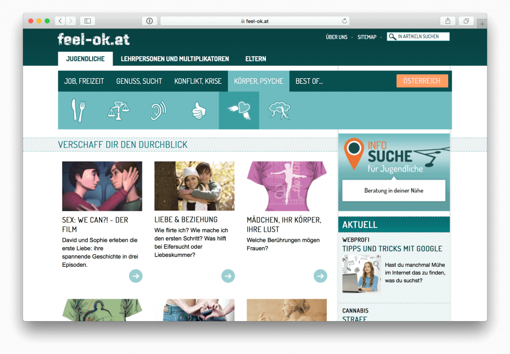 Screenshot der Website feel-ok.at, die Website trägt zu einem kritischen Pornokonsum bei