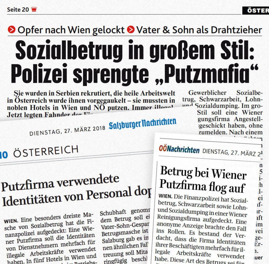 Faksimile der Zeitungsartikel aus Kronen Zeitung, Salzburger Nachrichten und Oberösterreichischen Nachrichten