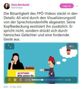 Auf Twitter schreibt Petra Bernhardt über das FPÖ Video