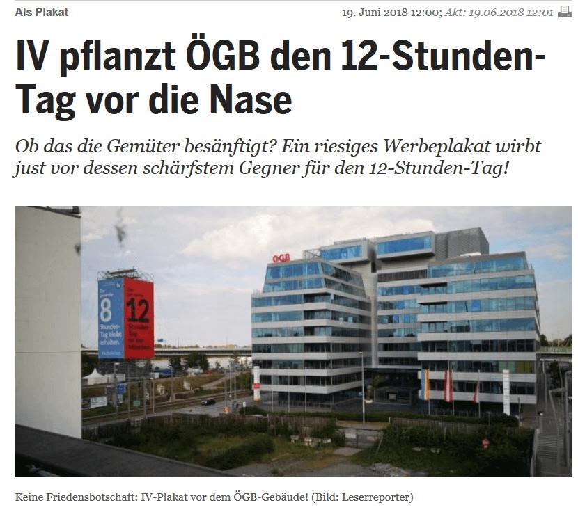 Inserate: IV-Werbung neben ÖGB-Gebäude für 60 Stunden Woche