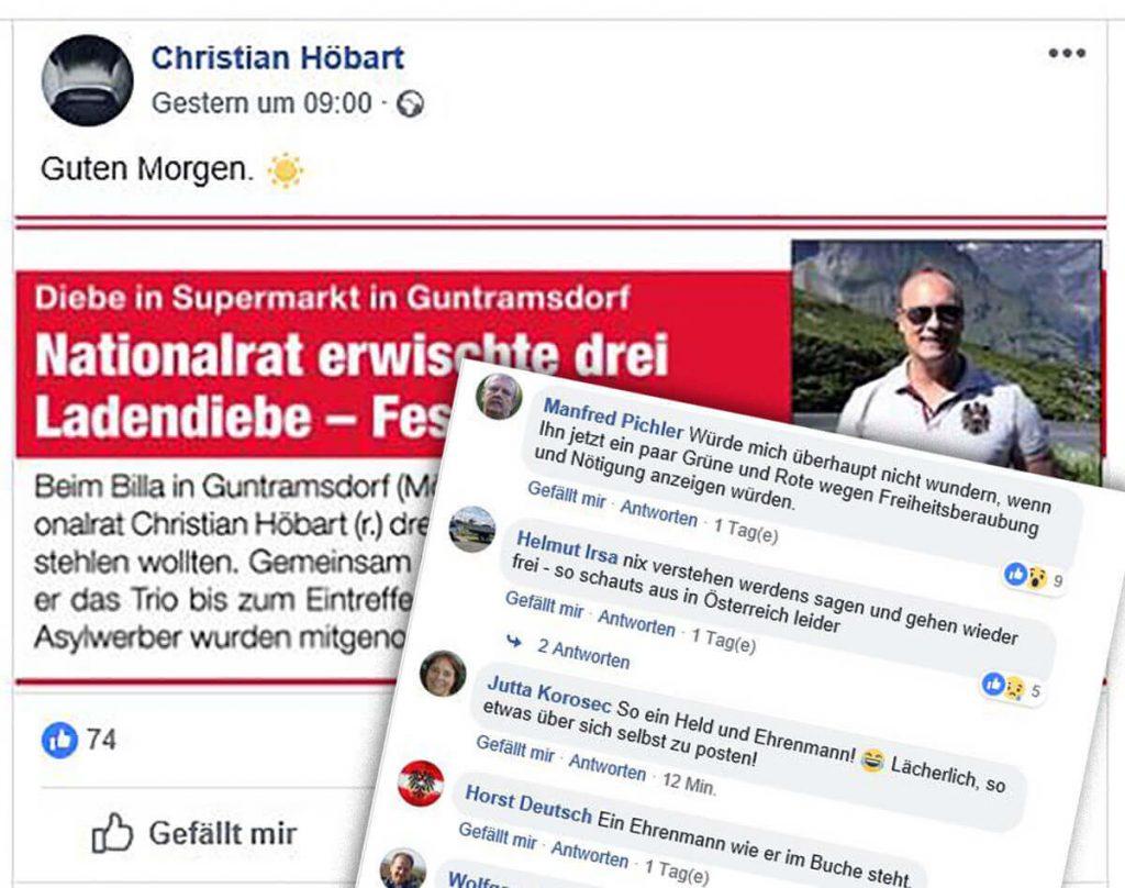 """Christian Höbart feiert sein Heldentum auf Facebook, weil er angeblich drei """"Ladendiebe"""" ertappte"""