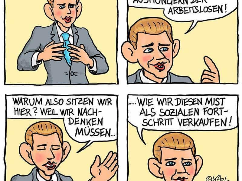 Jobgipfel der Regierung - Cartoon von Karl Berger