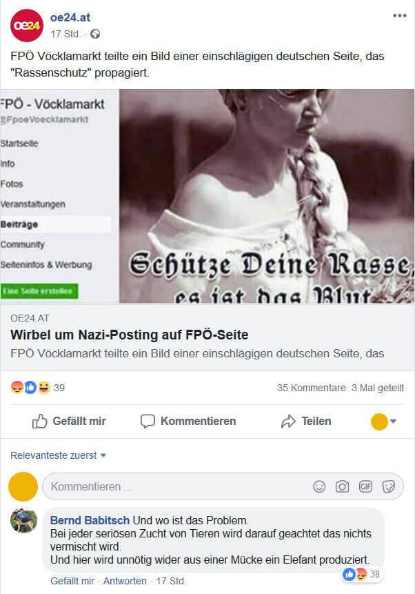 Nazi-Posting FPÖ Hofer Babitsch Pinkafeld FPÖ Vöcklamarkt