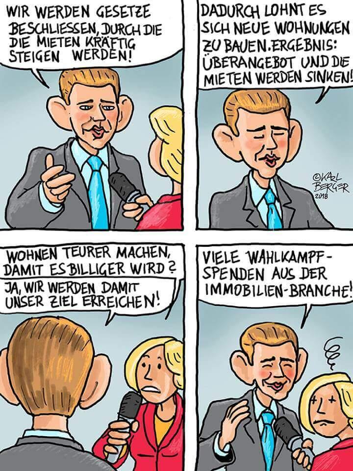 Die ÖVP und die Mieten - Cartoon von Karl Berger
