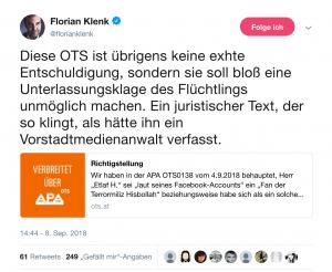 Tweet von Florian Klenk über die Richtigstellung der FPÖ zu ihren Aussagen über einen oberösterreischien Lehrling