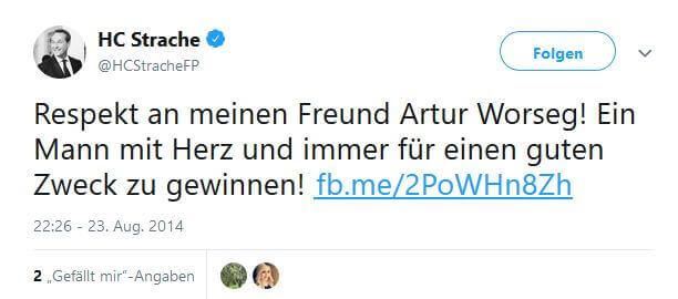 Tweet von Strache über Worseg. Eingebettet für den Artikel über die Privatklinik Währing