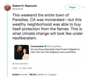Die Waldbrände in Kalifornien treffen die Armen besonders hart, das wird in einem Tweet kritisiert.