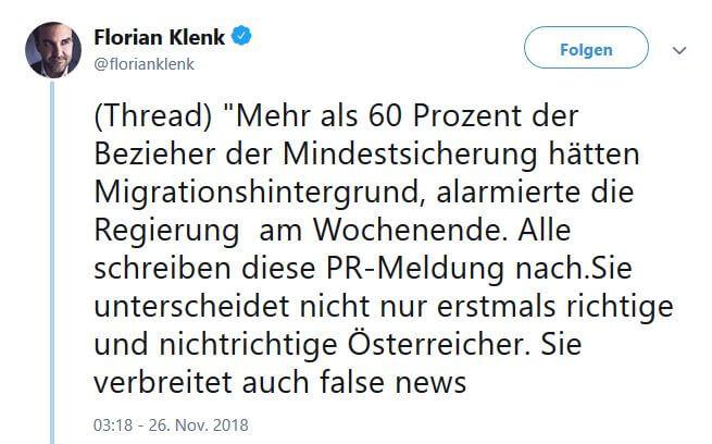Tweet von Florian Klenk für Artikel: Mindestsicherung Migranten