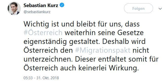 Tweet von Sebastian Kurz zu Migrationspakt
