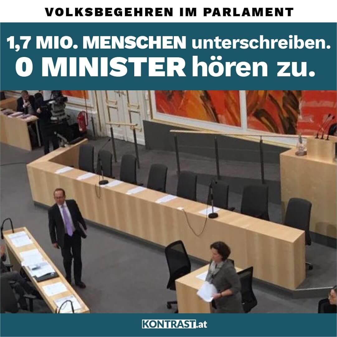 Regierung schwänzt Volksbegehren Parlament