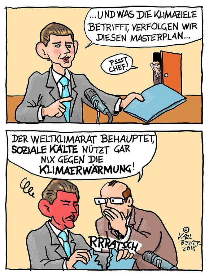 karl berger cartoon: klima & soziale kälte