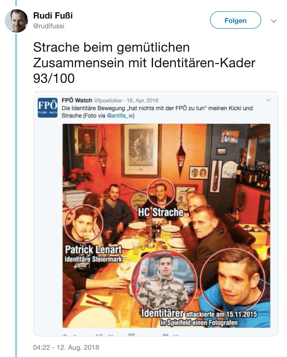 Strache vs Fußi: Foto mit Identitären bringt FPÖ-Chef in Widerspüche