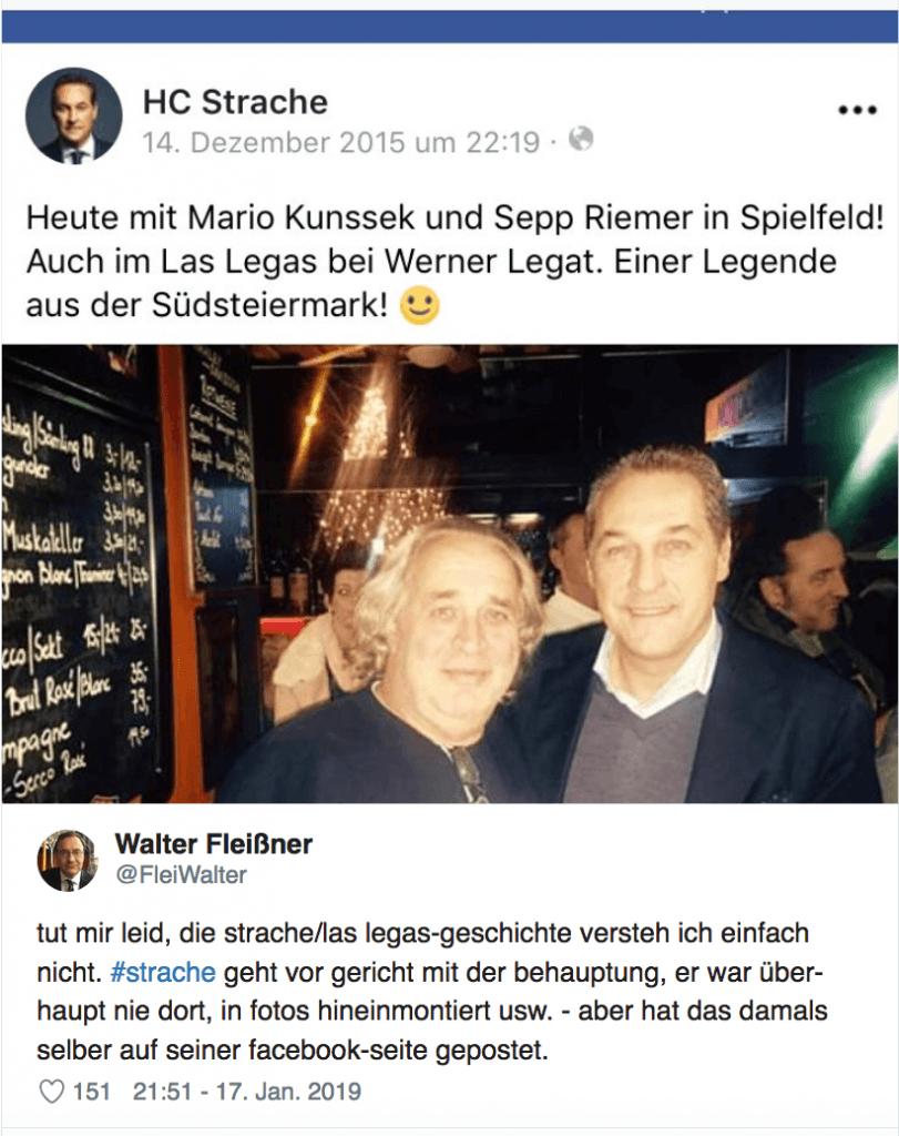 """Strache vs Fußi: FPÖ-Chef postete das Foto vom Abend mit """"Identitären"""" selbst auf Facebook"""
