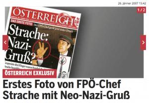 Screenshot, oe24.at (26. Jänner 2007) (Bilder von Strache mit Rechtsextremen)