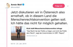 Armin Wolf zeigt sich auf Twitter schockiert über die Aussage von Kickl über die Menschenrechte