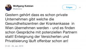 Wolfgang Katzian hat Informationen, dass unser Gesundheitssystem privatisiert wird. Welche Privatisierungen genau drohen wird sich noch herausstellen.
