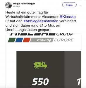 Wegen Norbert Hofer kommt der Abbiegeassistent nicht - eine Firma spart sich alleine 1,5 Millionen Euro