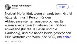 Tweet über die Lüge von Norbert Hofer beim Thema: Abbiegeassistent