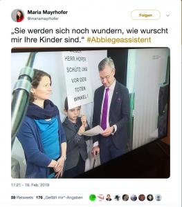 Kinder hatten Schilder für den Abbiegeassitent - Norbert Hofer war dagegen