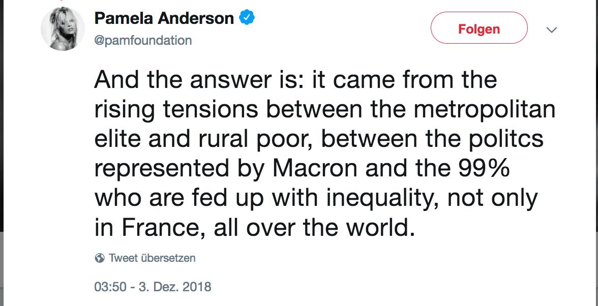 Bild zeigt Twitter Account von Pamela Anderson, die nach Österreich reist