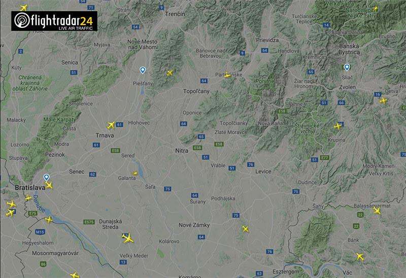 Im Umfeld von Mochovce gibt es regen Flugverkehr - wie Flightradar24.com zeigt.