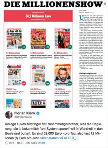 ähnlich wie bei den Inseraten wird die Regierung auch die Einnahmen aus der Digitalsteuer auf die Verlagshäuser und Medien verteilen. Österreich hat nichts davon. Bedeutung