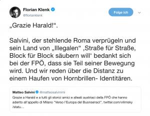 Salvini wird nach der Wahl eine Fraktion mit der FPÖ gründen. Das kritisiert Florian Klenk in diesem Tweet.