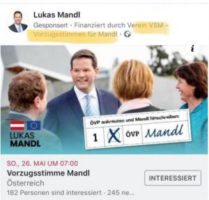 De Verein Vorzugsstimme Lukas Mandl finanziert Facebook Werbung für den ÖVP Kandidaten Lukas Mandl und sammelt Spenden. Gernot Blümel ist also nicht der einzige ÖVPler mit Verein.