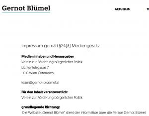 Screenshot der Homepage von Gernot Blümel. Der Verein zur Förderung bürgerlicher Politik könnte Spenden für den Kurz Wahlkampf erhalten haben