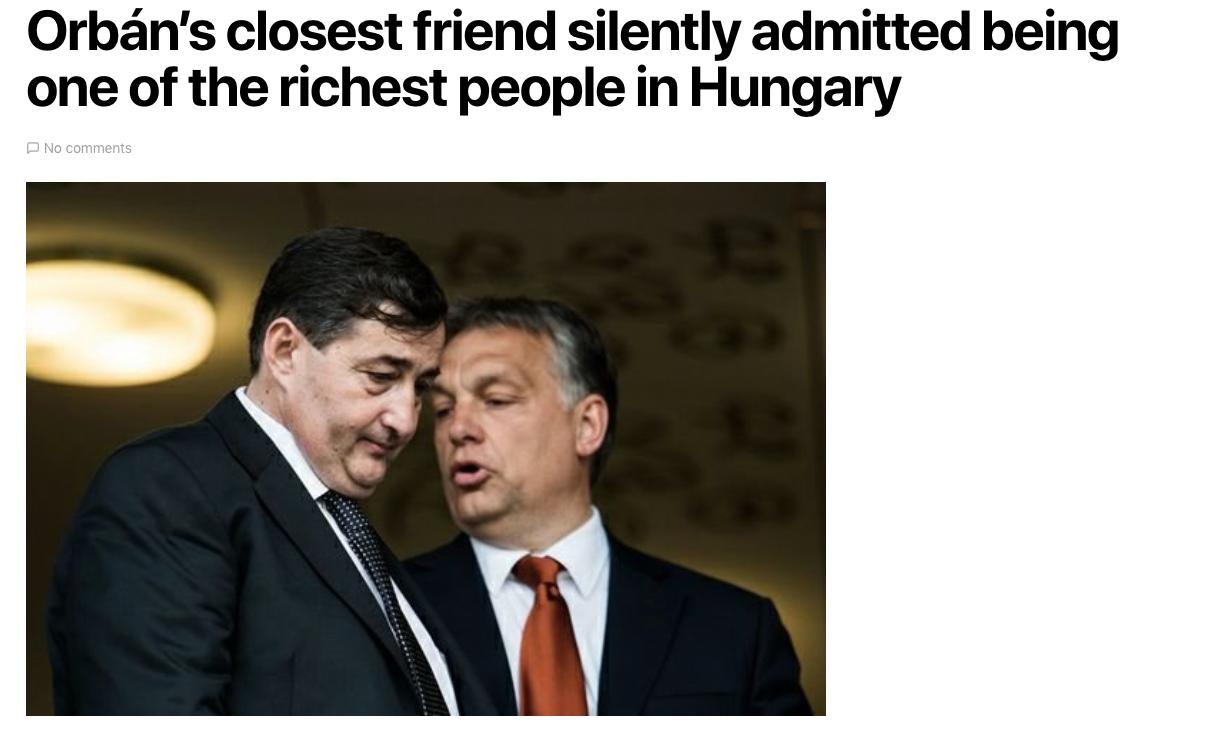 Medien in Ungarn titeln: bester Freund von Orbán ist reichster Mann von Ungarn