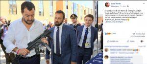 Matteo Salvini posiert mit einem Maschinengewehr auf Facebook. Er will eine Fraktion mit der FPÖ auf EU Ebene gründen.