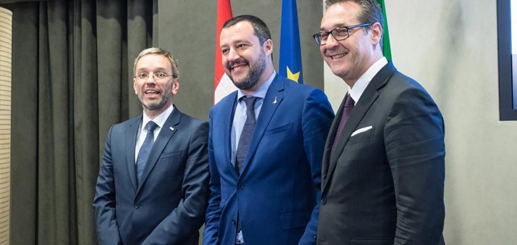 Wollen, dass in Europa der Rechtspopulismus regiert: Kickl, Salvini, Strache