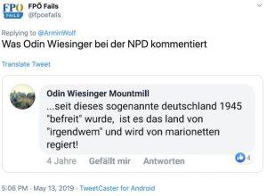 Screenshot Twitter Kommentar Wiesinger