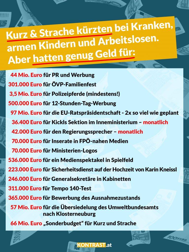 Die FPÖ-ÖVP-Regierung gibt insgesamt über 270 Mio. Euro aus.