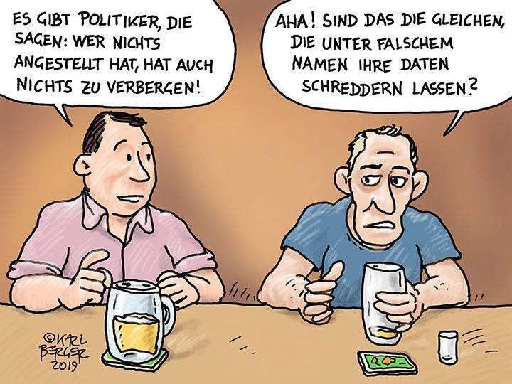 Schredder-Affäre ÖVP Cartoon