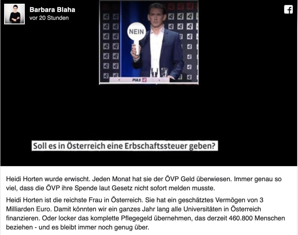 Barbara Blaha über die Heidi Horten und über superreiche ÖVP-Spender auf Facebook.