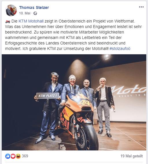 Oberösterreich: Kulturförderung von LH Stelzer für KTM Pierer