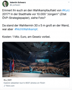 Auch auf Twitter schlagen die Falter Aufdeckungen über die ÖVP Wahlkampf-Ausgaben Wellen. Im Bild ein Tweet.