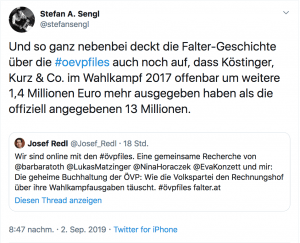 Auf Twitter wird auch erwähnt, dass die ÖVP schon bei der letzten Jahr zu viel im Wahlkampf ausgegeben hat. Der Falter deckt nun auf dass diese Überschreitung auch noch um 1,4 Millionen höher war als anfangs geglaubt.