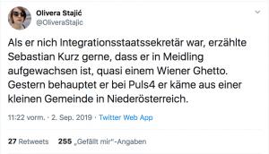 Sebastian Kurz verschweigt mittlerweile sogar aus Wien zu kommen - das führte auch zu Dikussionen auf Twitter, wie auf diesem Bild zu sehen ist. Das ist merkwürdig denn Wien ist laut Economist besonders lebenswert.
