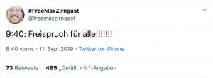 Max Zirngast freute sich über seinen Freispruch auch auf Twitter, wie dieser Tweet zeigt.